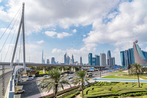 Fototapeta Dubaj pejzaż miejski, widok od Zabeel parka, Zjednoczone Emiraty Arabskie