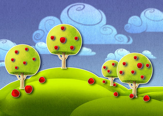 Fototapeta Do przedszkola Beautiful digital illustration of a peaceful natural countryside landscape