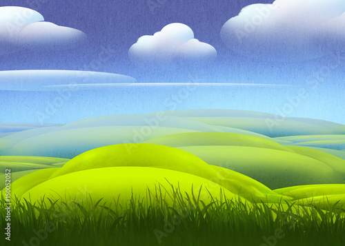 Poster Lime groen Beautiful digital illustration of a peaceful natural countryside landscape