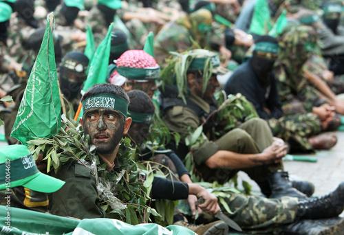 Palestinian Hamas militants take part in an anti-Israeli