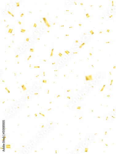 Obraz Golden confetti. Holiday confetti isolated on white background. Flying confetti - fototapety do salonu