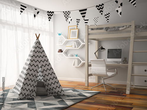 part of Interior with wigwam 3D rendering Canvas