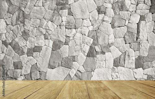 Naklejka na szybę Empty top wooden table on stone wall