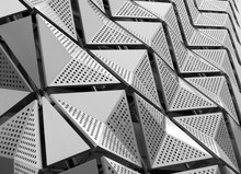Geometric Steel Metallic Cladding On A Generic Modern Building