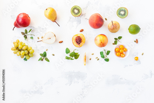Keuken foto achterwand Vruchten Fresh fruits on white background. Flat lay, top view, copy space
