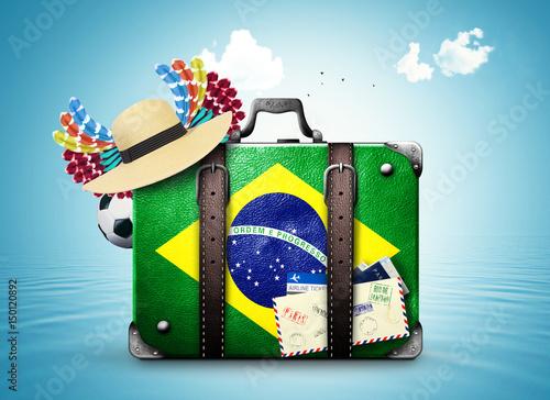 Canvastavla  Brazil, Brazil landmarks, travel and retro suitcase