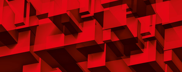 Volume geometric glass construction, 3d cubes red background, shapes mosaic, abstraction wallpaper, vector design for you presentation