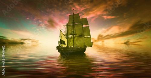 In de dag Schip Sailboat and birds against beautiful sunrise landscape