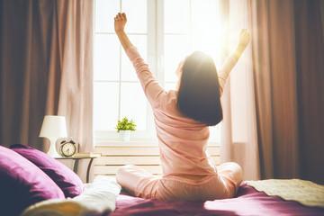 woman enjoying sunny morning