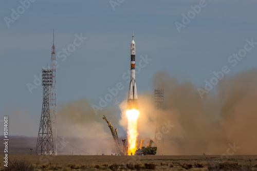 Keuken foto achterwand Nasa Baikonur, Kazakhstan - April 20, 2017: Launch of the spaceship