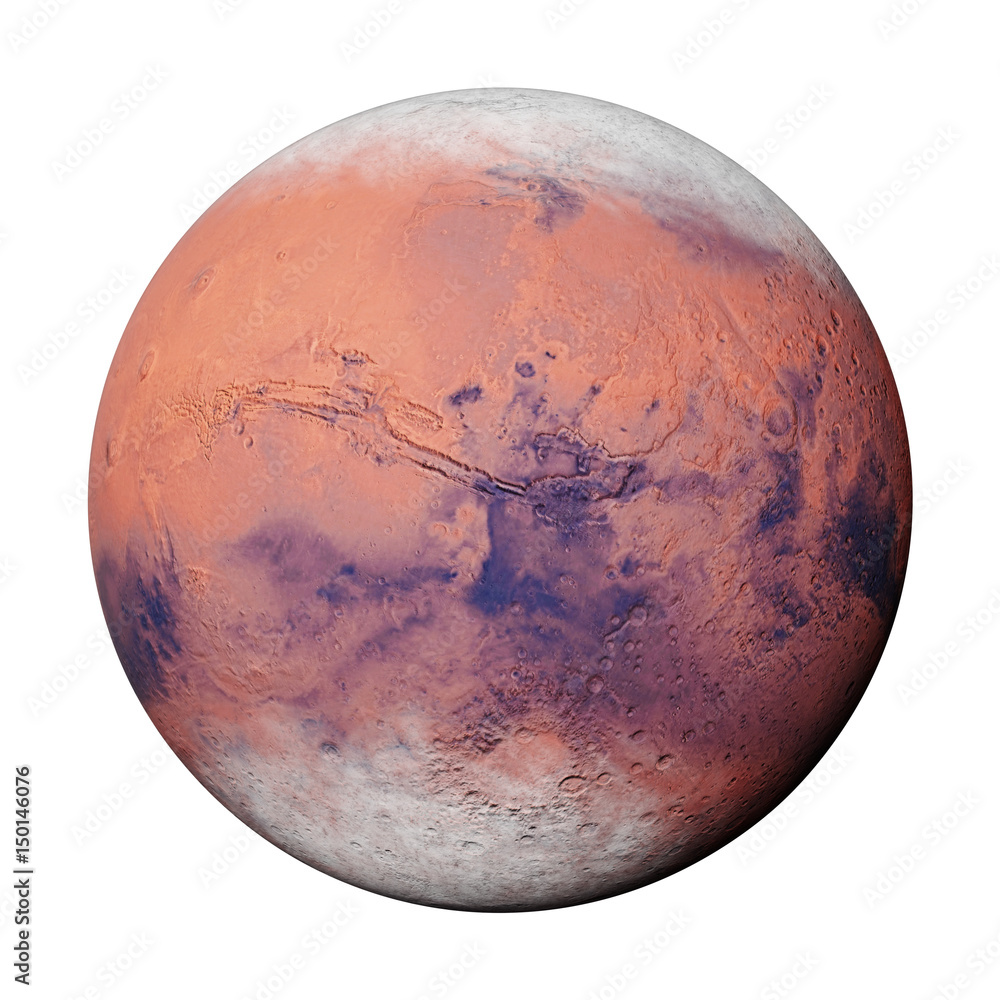 Fototapety, obrazy: planet Mars during the Martian winter, isolated on white background