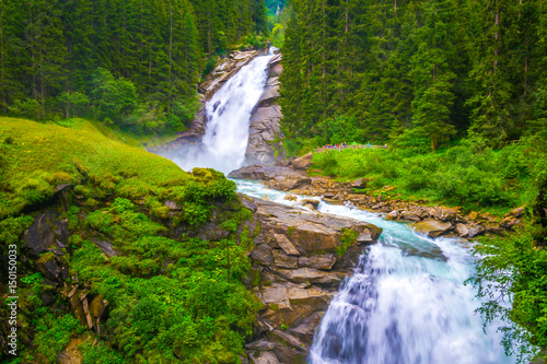 Fototapeta View of the Krimml Waterfall which is the highest waterfall in Austria.
