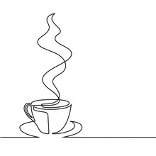 Continuous Line Drawing Of Cup...