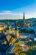 Linz Cityscape with New Cathedral and Church of the Ursulines, Austria