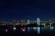 東京 お台場 東京ベイエリアの夜景とレインボーブリッジ