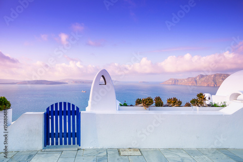 Aluminium Prints Santorini Abstract architecture of cycladic aegean traditional buildings, Santorini, Greece.