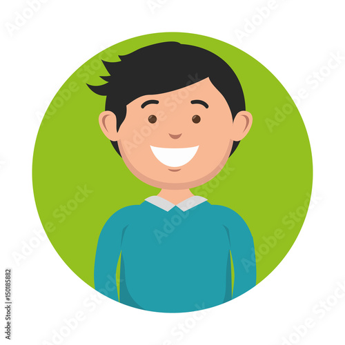 Valokuva  A dark-haired smiling man icon over green and white background