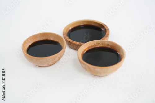 Three soy sauce bowl on white background