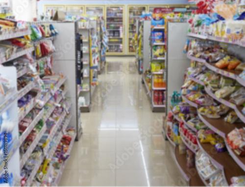 Fotografie, Obraz  Supermarket store blur