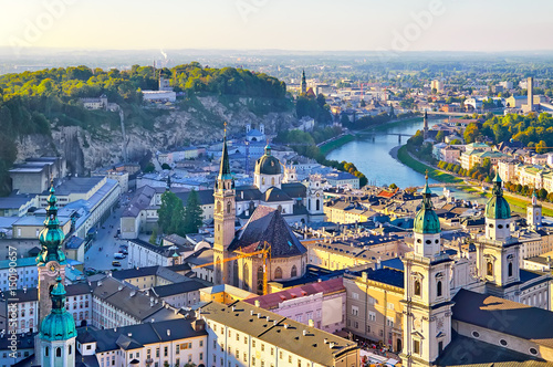 Fototapeta Aerial view of the historic city of Salzburg in beautiful evenin obraz na płótnie