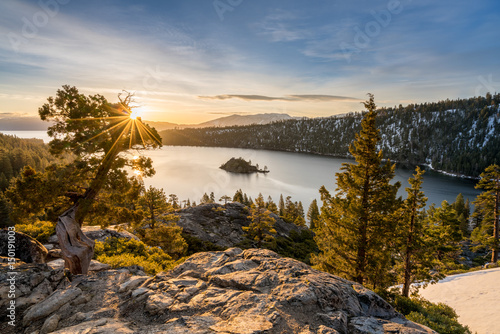 Canvas Print Emerald Bay on Lake Tahoe with snow on mountains