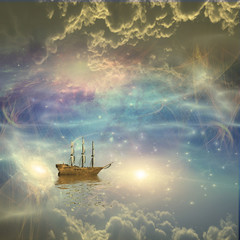 Obraz na SzkleSailing ship sails through the stars Some elements provided courtesy of NASA
