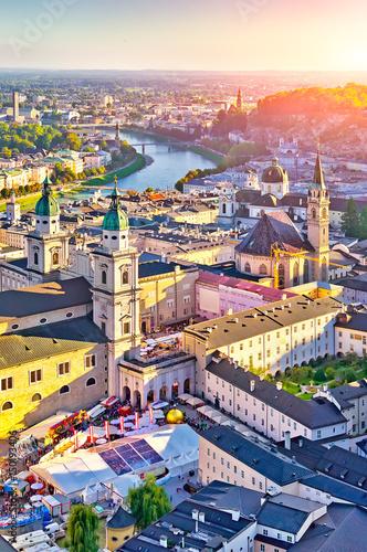 Vászonkép  Aerial view of the historic city of Salzburg at sunset, Salzburg