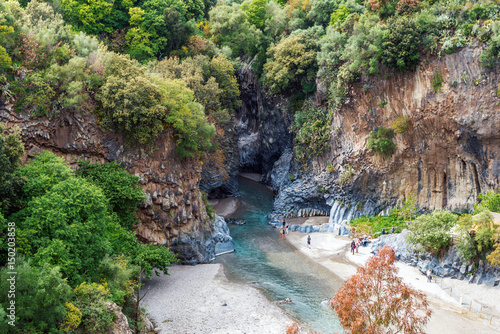 Alcantara gorge and river in Sicily, Italy Wallpaper Mural