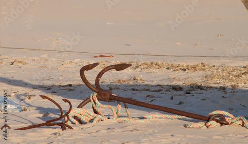 Foto op Aluminium Zalm Ancla oxidada en playa de Bolonia, Cádiz, Andalucía, España
