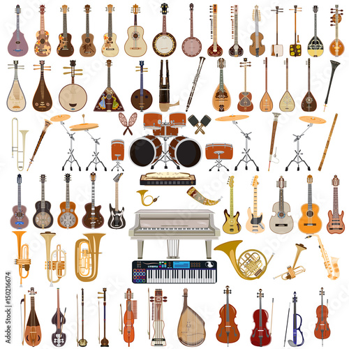 Fotografía Vector set of musical instruments in flat style