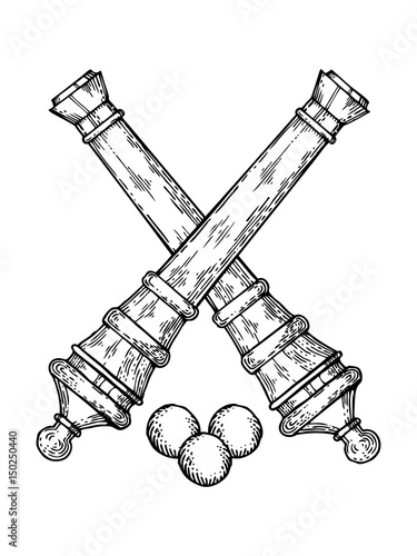 Vintage cannons and cores engraving style vector Fototapete