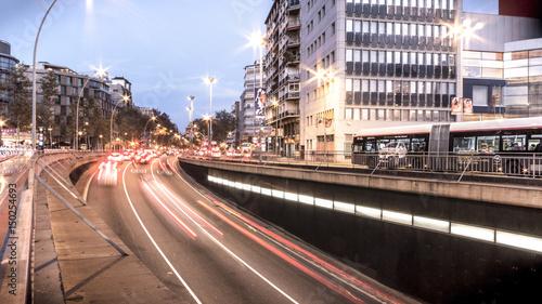 Plakat Traffic Jam w mieście. Barcelona, Hiszpania)