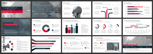 Photo  Red and gray elements of infographics on a white background