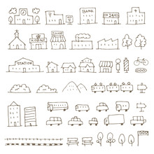 かわいい手描き地図用建物、乗り物アイコンイラスト