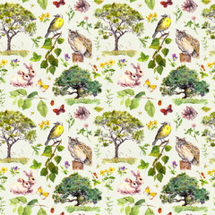 Fototapeta Malarstwo Forest: bird, rabbit, tree, leaves, flowers and grass. Seamless pattern. Watercolour