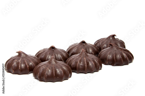 Keuken foto achterwand Snoepjes Pile of marshmallows glazed with chocolate. Many coated elegant zephyr dessert isolated on white. Sweet elegant dessert on a plate