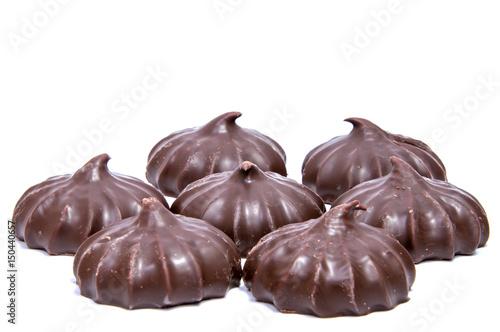 Foto op Aluminium Snoepjes Pile of marshmallows glazed with chocolate. Many coated elegant zephyr dessert isolated on white. Sweet elegant dessert on a plate