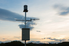 Anemometer Silhouette With Twiligth