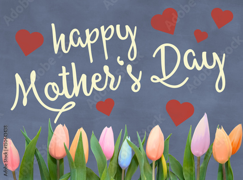 Mothers day greeting card with words happy mothers day on mothers day greeting card with words happy mothers day on blackboard slate background with hearts and m4hsunfo