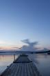 Wooden pontoon bridge in Greece, at sunset time
