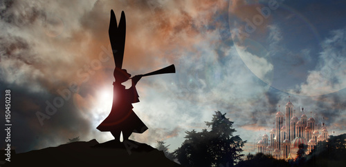 silhuette of White rabbit herald with horn and palace in background Canvas Print