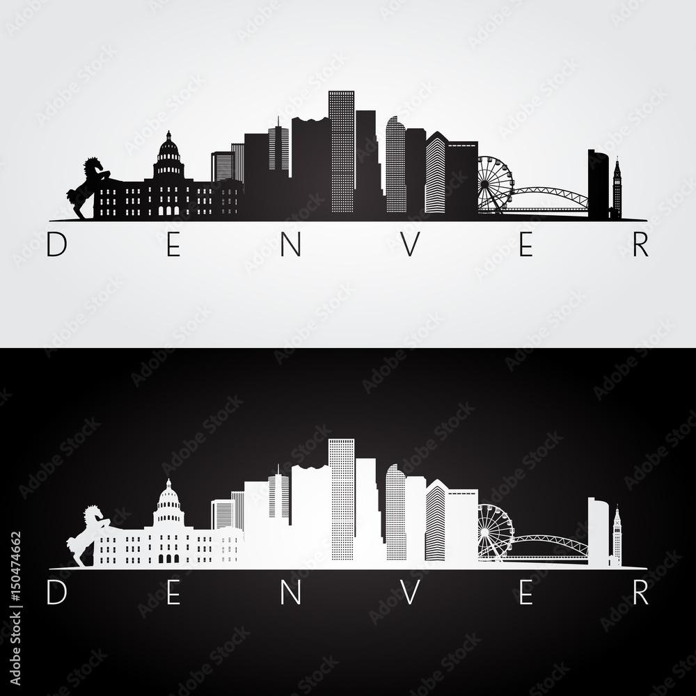 Fototapeta Denver USA skyline and landmarks silhouette, black and white design.