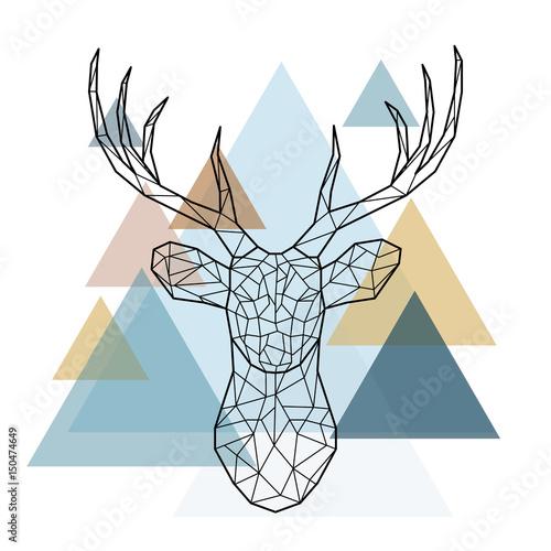 Geometric deer head. Scandinavian style
