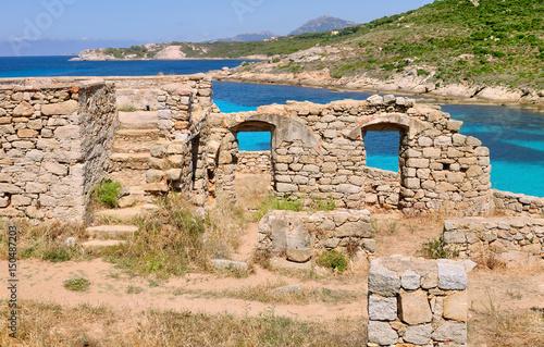 ruine en pierre en bord de mer turquoise Poster