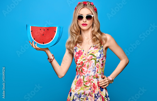 Fashion Beauty Woman In Summer Outfit. Sensual Sexy Blond