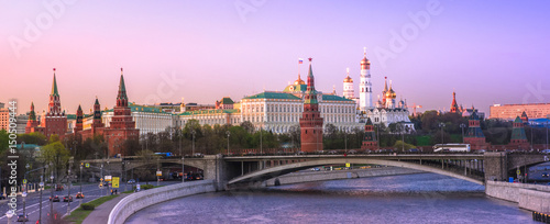 Panorama view of evening Moscow, view of the Moscow Kremlin, Russia Wallpaper Mural