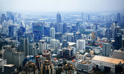 Foto op Aluminium Kuala Lumpur Aerial view of Bangkok modern office buildings, condominium in Bangkok city , BKK, Tailand