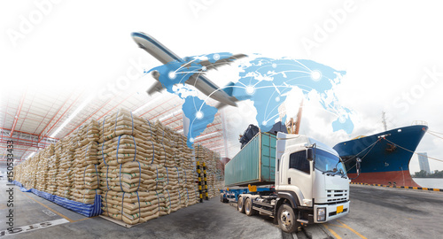 Valokuva  Logistics systems for import export business.