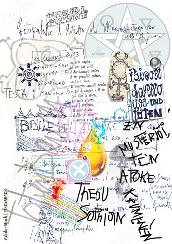 Stickers pour portes Imagination Old manuscript with draws,sketches,collage and alchemic scripts