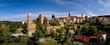 canvas print picture - Alte Wasserkunst, Michaeliskirche, Dom St. Petri, Rathausturm, Gerberbastei, am Fluss Spree, von der Friedensbrücke aus gesehen, Budyšin, Bautzen, Sachsen, Deutschland